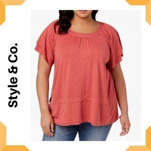 Plus Size Flutter-Sleeve Swing-Hem Top Style & Co